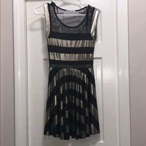 Silver striped dress with mesh cutouts